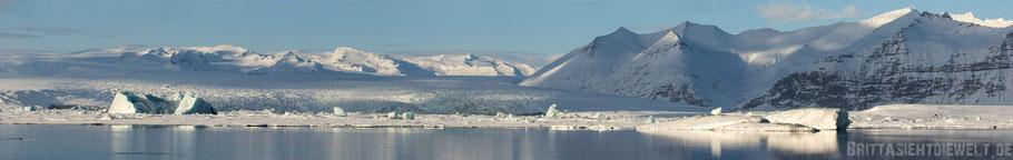 Jökulsárlón,Gletschersee,Vatnajökull,Tipps,Panorama,Island,Winter,Februar,Schnee.