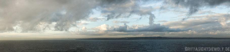 Großbritannien,Küste,Meer,Wolken,Schiff,Fähre,Schottland,Panorama