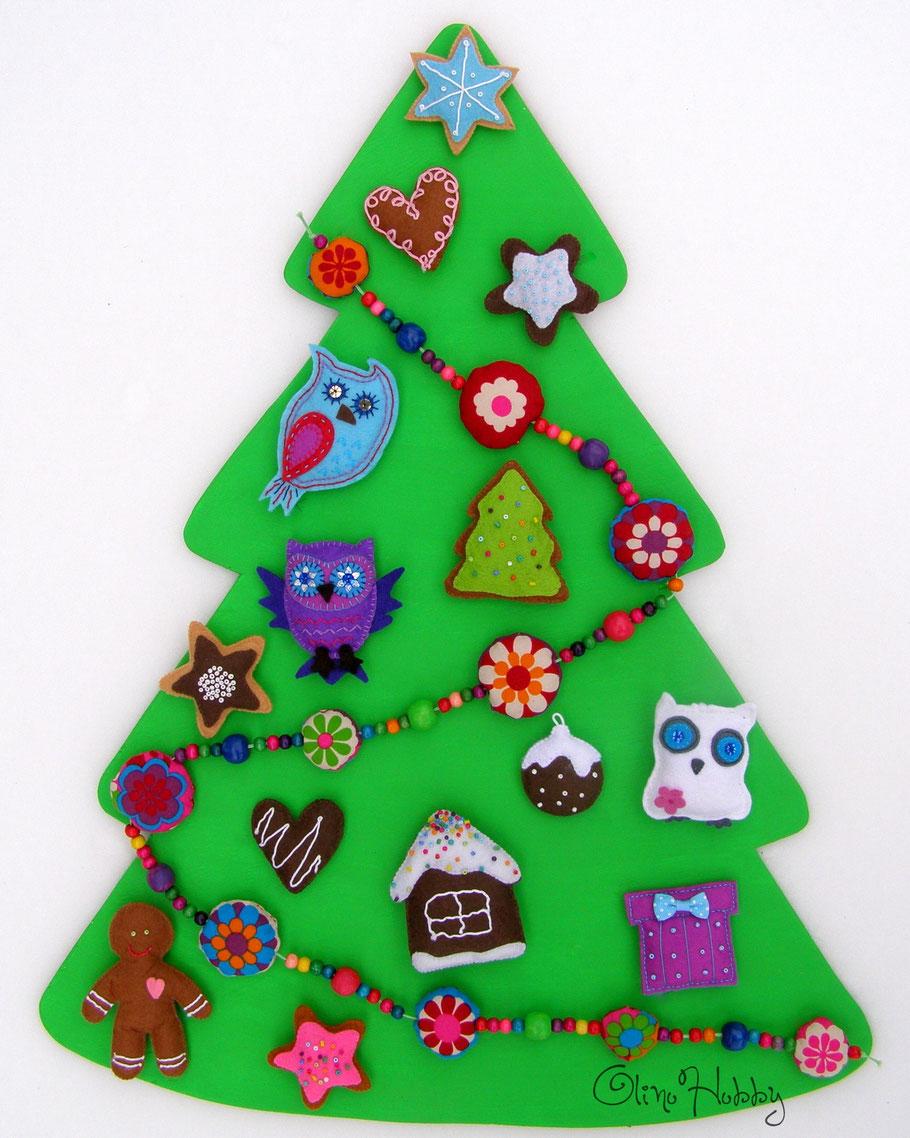игрушки из фетра, новогодние украшения из фетра, фетровые игрушки на ёлку, деревянная ёлка, развивающая ёлка для детей, игрушечная ёлка