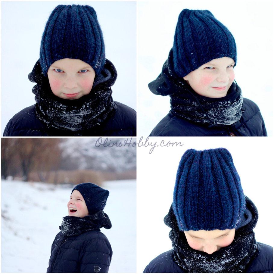 Вязаная шапка резинкой