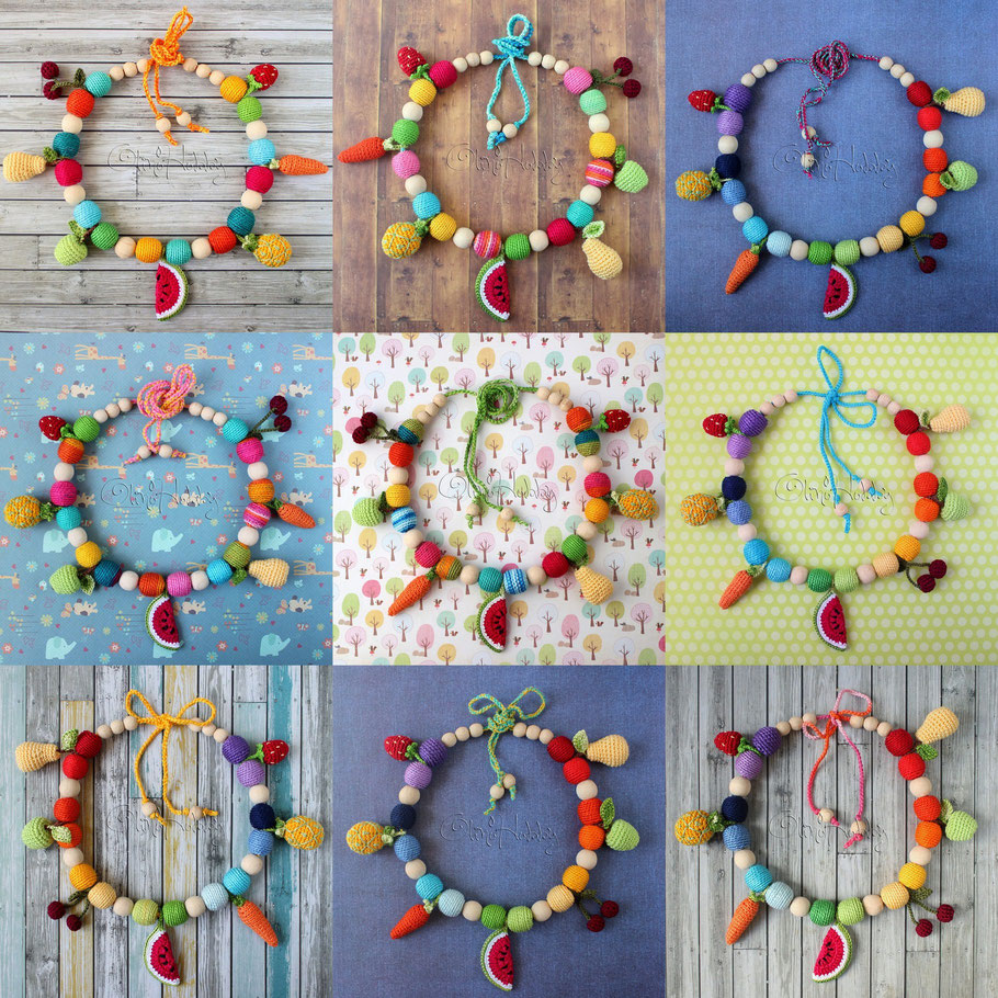 Вязаные слингобусы с фруктами OlinoHobby, Nursing necklace Fruits