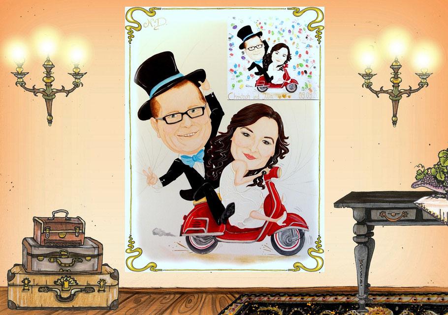 #Karikatur #nadines-kreativschmiede #flammenfarbe #Hochzeitskarikatur #karikaturidee #karikaturmitroller #karikaturvomfoto #handgefertigtekarikatur