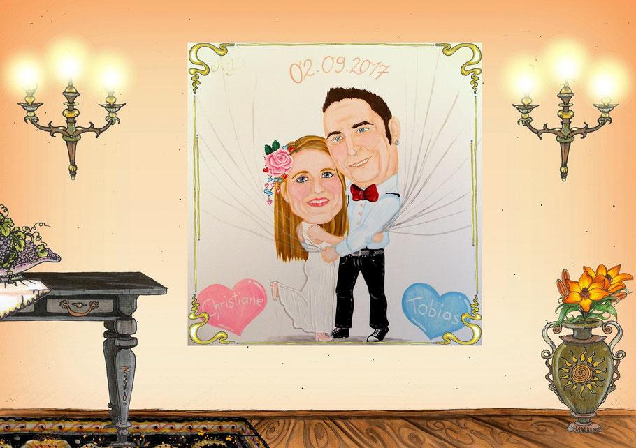 #Hochzeitskarikatur #Hochzeitsgeschenk #Nadines-kreativschmiede #flammenfarbe #KarikaturaufLeinwand #Kunst #Künstlerausfreyunggrafenau #KünstlernähePassau #KünsterausderRegion
