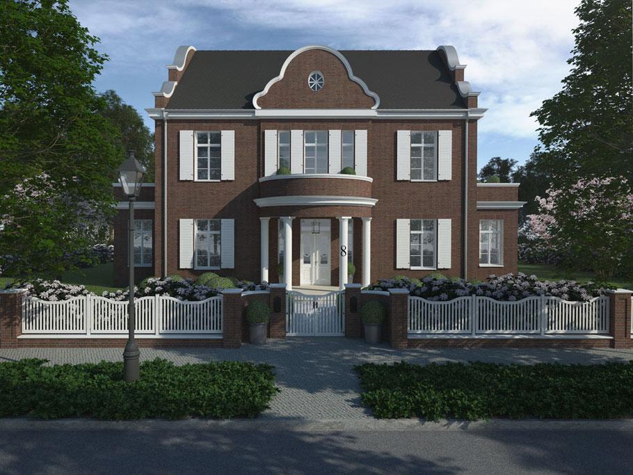 Holztor und EIngangsbereich vor Villa Grand Backstein Niels Dornow Baukunst klassische Architektur