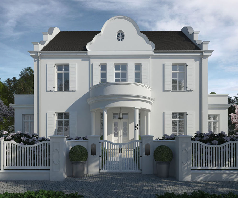 Holztor und EIngangsbereich vor Villa Maison Blanche