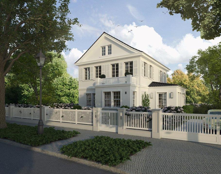 Weiß verputzte Landvilla Niels Dornow Baukunst
