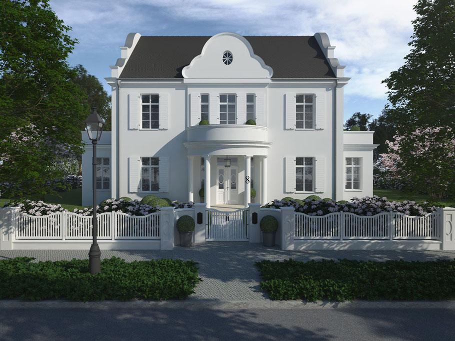 Klassische Villa Einfamilienhaus Maison Blanche weiß verputzt Schieferdach Niels Dornow Baukunst
