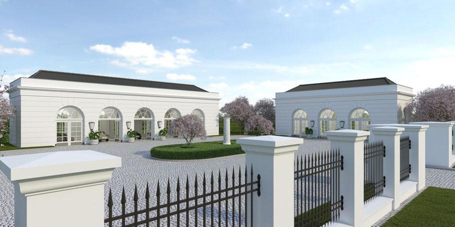 Klassiche Zaunlage private Dreiergarage Oldtimergarage Edelgarage Garage bauen Architektur