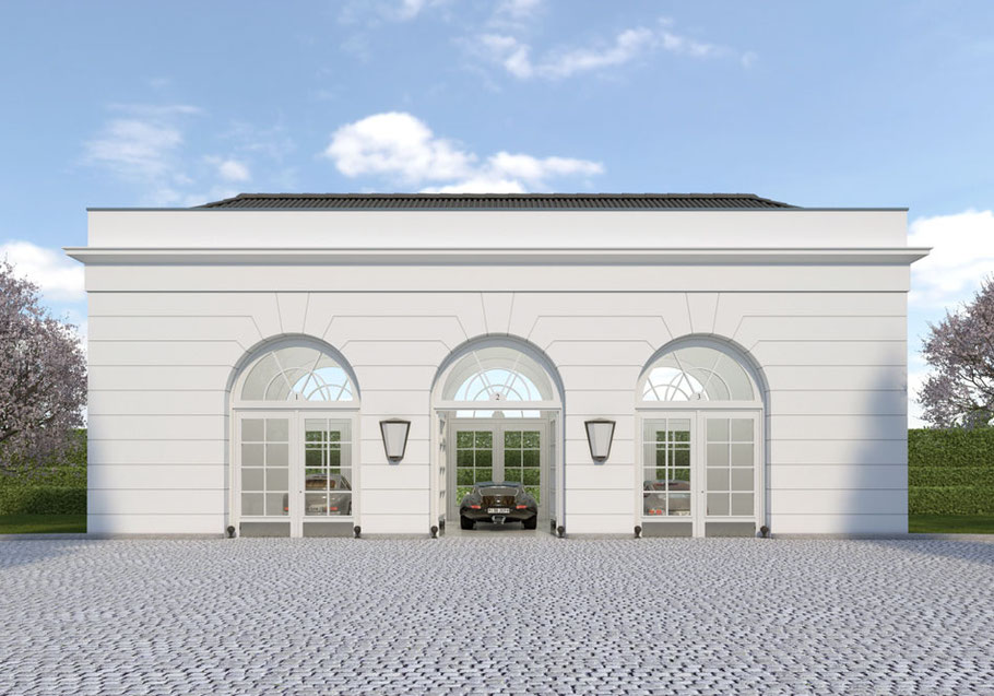 Frontalansicht Privatgarage Oldtimergarage Youngtimergarage historische Garage Luxusgarage Garagenbau