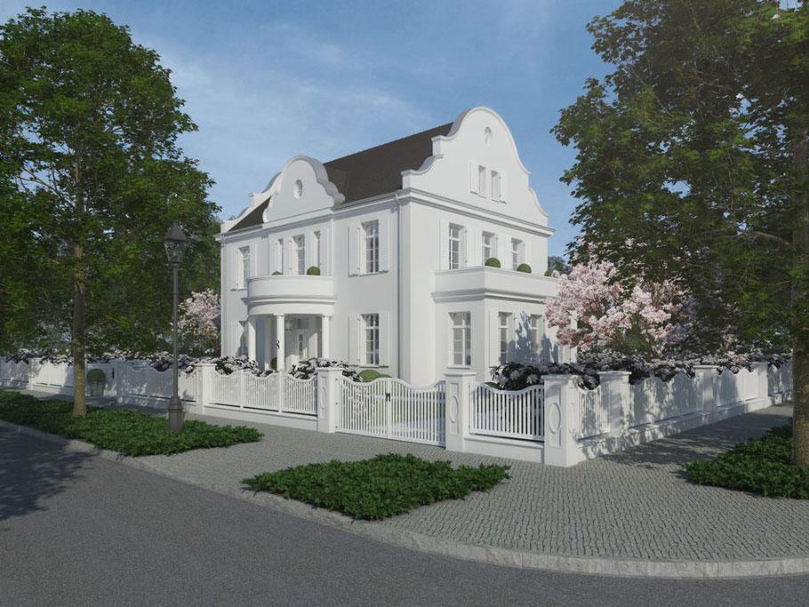 Seitenansicht Villa Maison Blanche Dornow Baukunst großzügiges Einfamilienhaus, geschwungener, klassischer Holzzaun