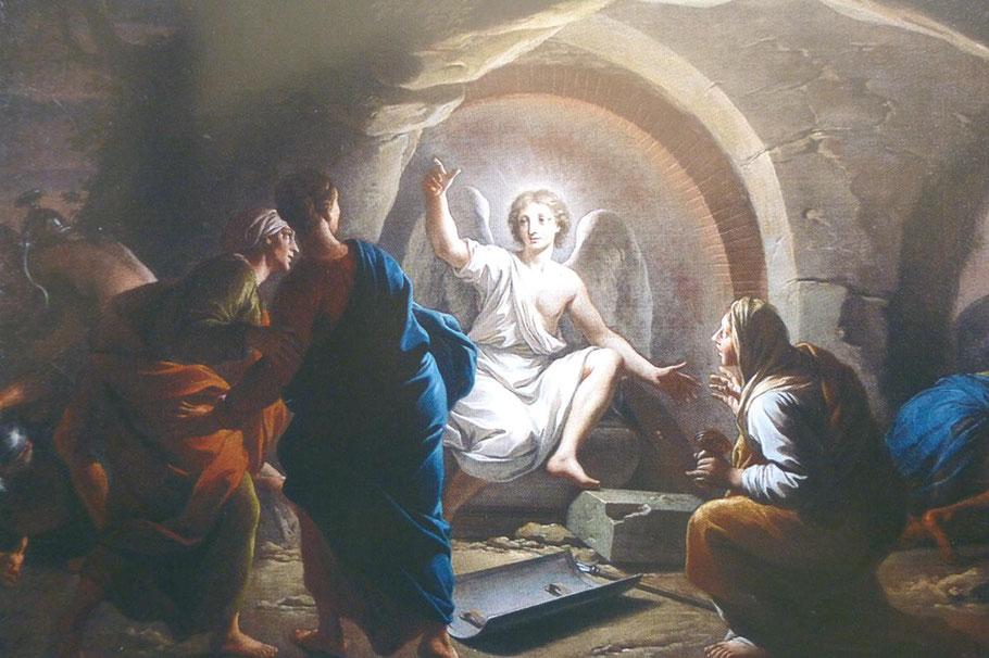 Un ange annonce aux trois Marie la Résurrection du Christ. Cette toile du Lyonnais, Daniel Sarrabat, fait partie d'un ensemble de scènes de la vie de sainte Marie-Madeleine, exécuté, en 1706 et 1713 pour l'église de la Madeleine de Thoissey