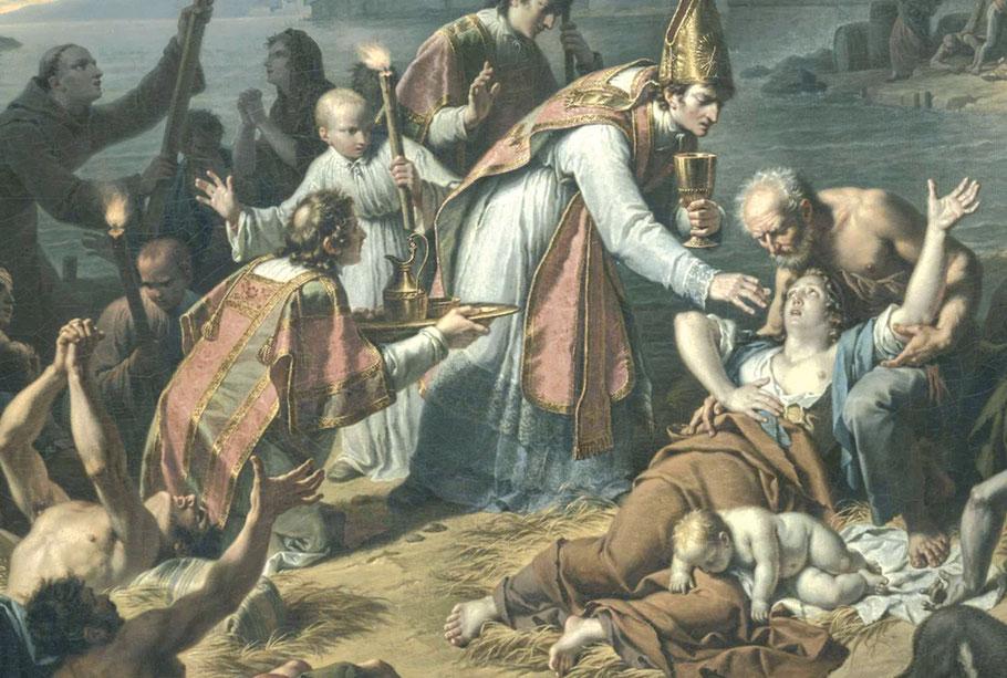 Communion pour des malades de la peste