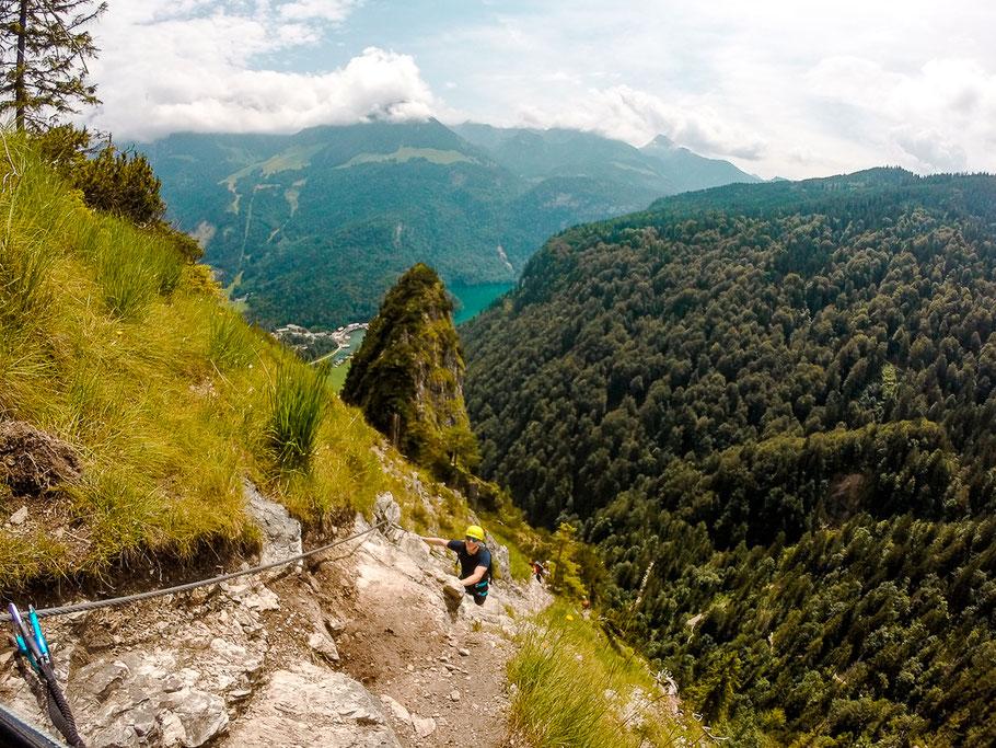 Schwierigkeitsgrad B/C beim Klettersteig