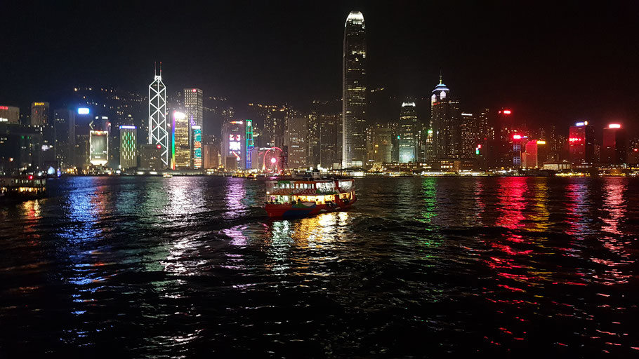 Hong Kong by night, view from Kowloon
