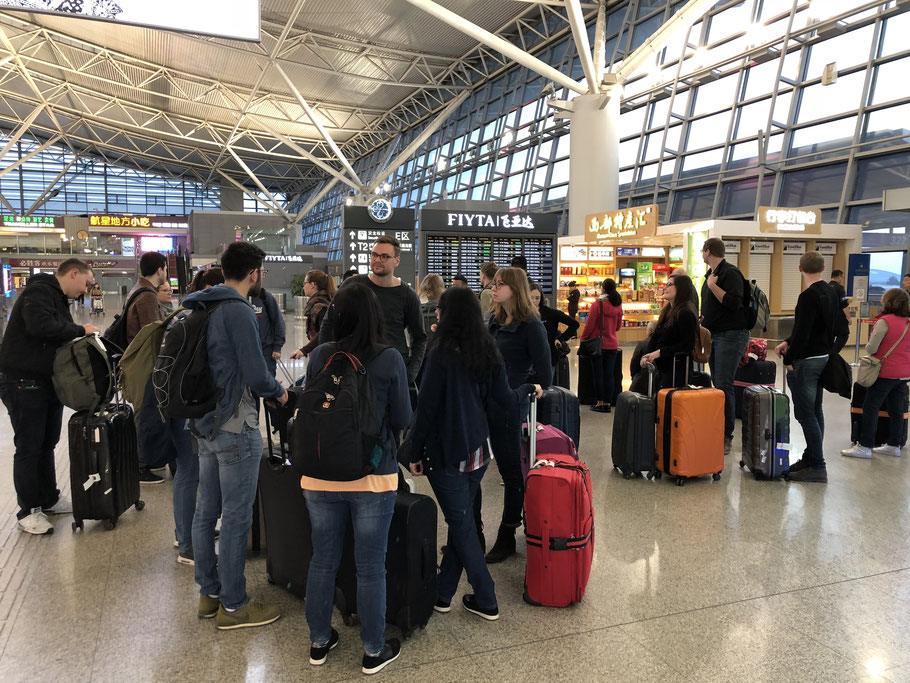 At the Xi'an Airport ready to check in for Shanghai