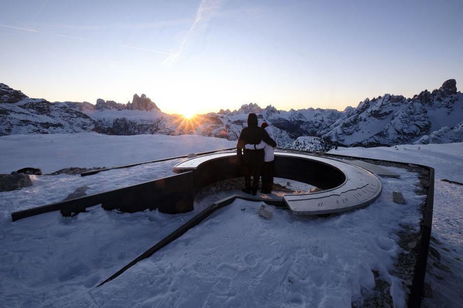Neujahrs Sonnenaufgang in den Dolomiten