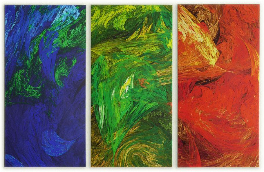 Triptychon ohne Titel, Mischtechnik auf Leinwand