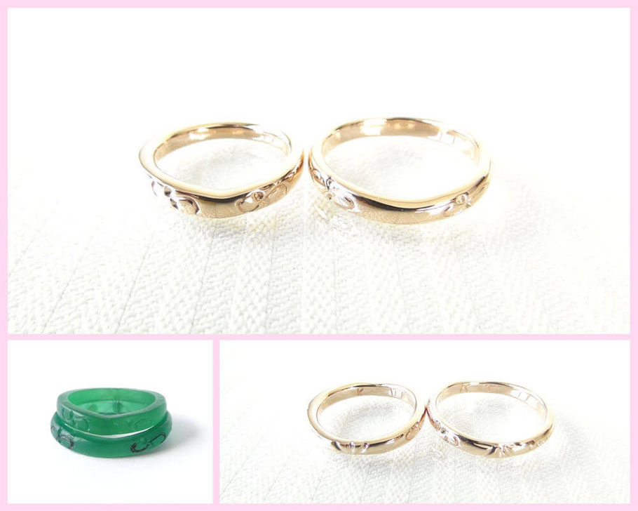 K18ピンクゴールド手作り結婚指輪
