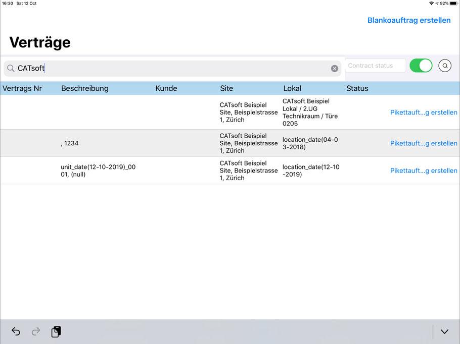 CATTOR Verträge auf dem iPad