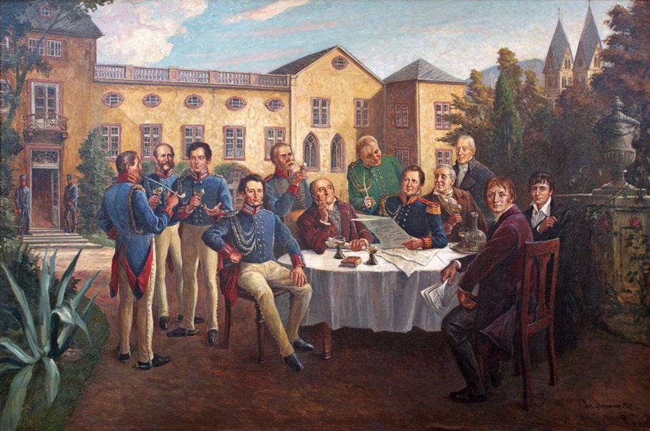 Auf dem Gemälde mit Neidhardt von Gneisenau und Carl von Clausewitz in Koblenz ist auch der frühere Ober-Polizei-Direktor in Stuttgart, Carl Friedrich von Jasmund (3.v.l.) zu sehen. Foto: Bundeswehr/Dirk Bannert