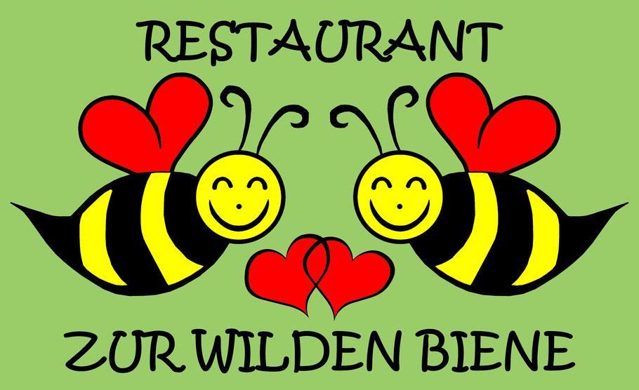 """Logo einer fiktiven Insektenhotelküche: """"Restaurant zur wilden Biene"""" Das schönste und beste Insektenhotel hilft recht wenig, wenn es in der Nähe kein passendes Nahrungsangebot gibt. Schon ein Blumentopf voller wilder Pflanzen hilft!"""