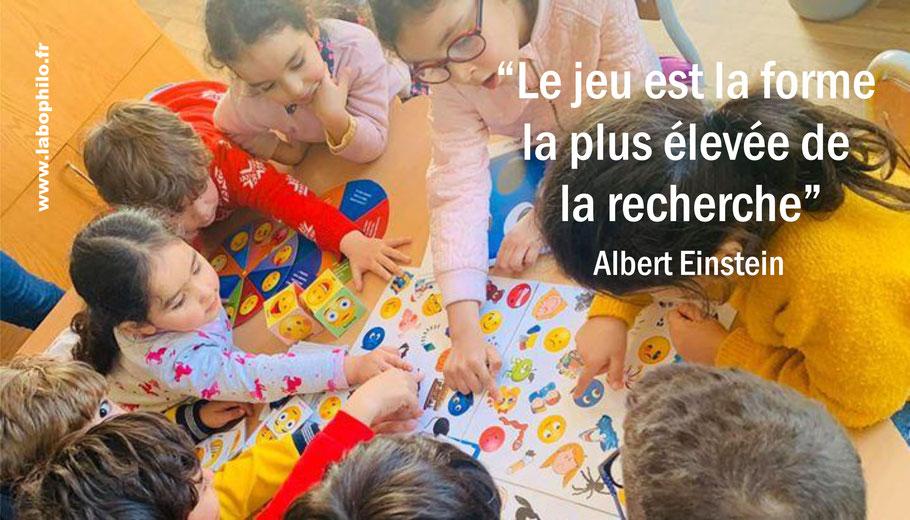 """Philo et jeu. Le jeu est la forme la plus élevée de la recherche"""". Albert Einstein. Citation Einstein."""