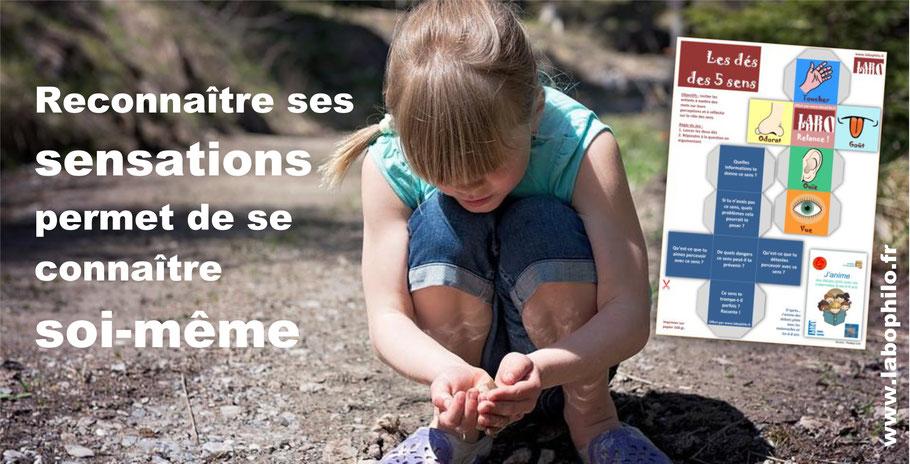 Dés des 5 sens. Philosophie pour enfants. Les sens.