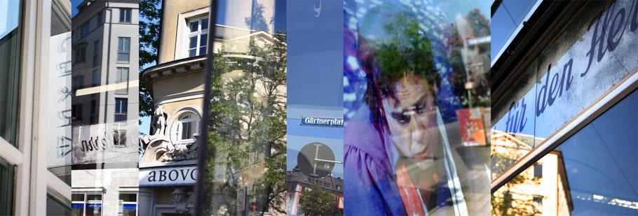 Der Gärtnerplatz in München, Bayern, als Montage einzelner Bilder wie ein Barcode in color als Panorama-Photographie