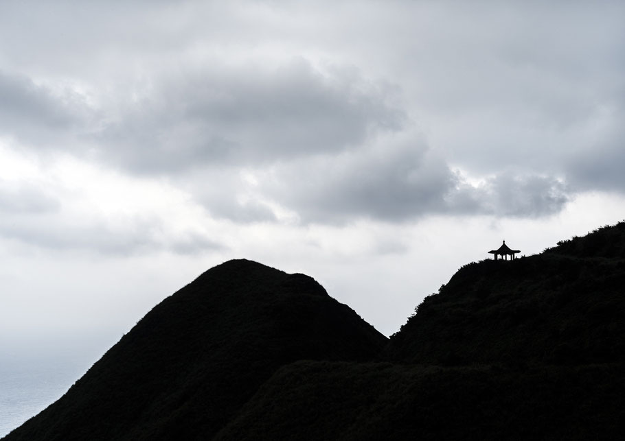 Teapot Mountain nahe Jioufen, Taiwan, als Farbphoto