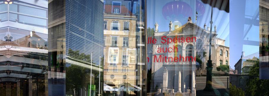 Der  Prinzregentenplatz in München, Bayern, als Montage einzelner Bilder wie ein Barcode in color als Panorama-Photographie