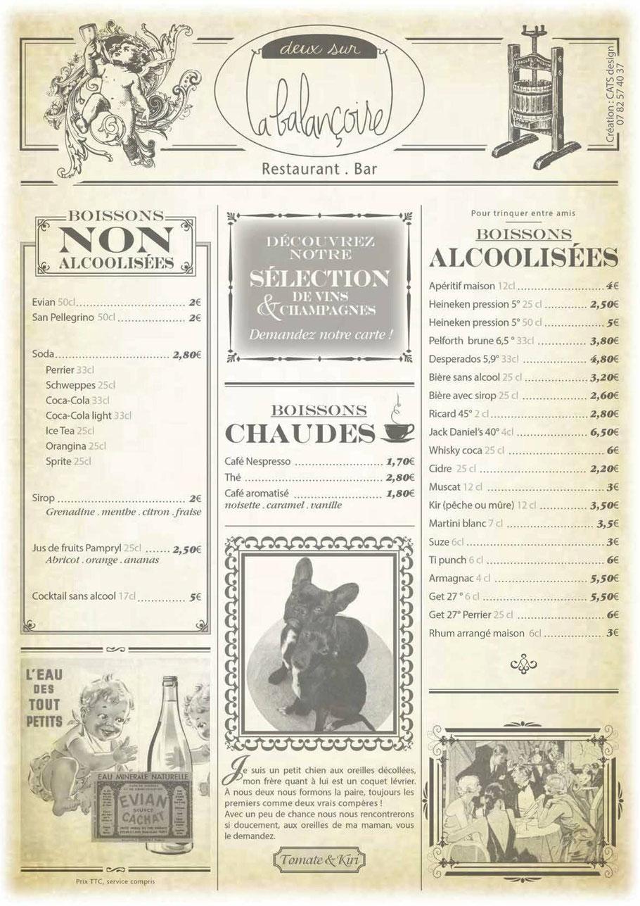 Menu boisson restaurant Toulouse Minimes Deux sur la Balancoire