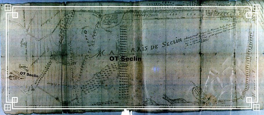 Seclin et les marais, plan très sommaire de 1700