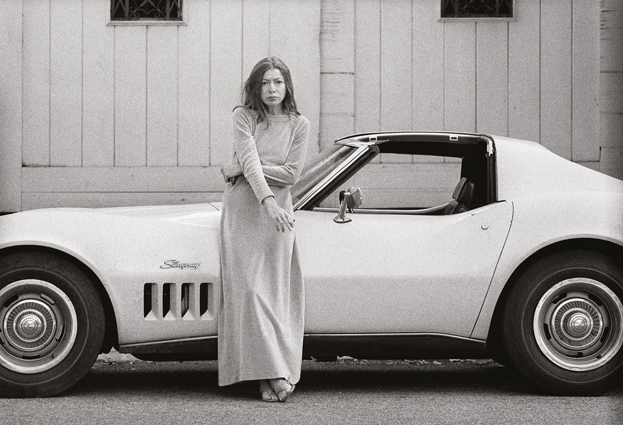 Photo:  Joan Didion with her Corvette, 1971. © Julian Wasser