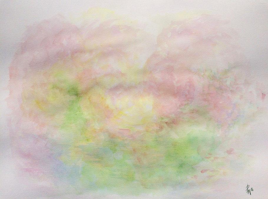 Frühlingsflirren, Aquarell auf Bütten, 76 x 56 cm, 2016