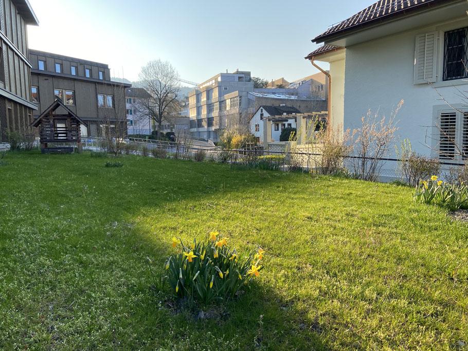 Kita-Garten: Hier mit Blick auf die Spiel-Wiese und das Spiel-Haus aus Holz