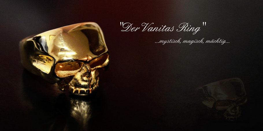 Codex  Nobilis Skull Ring Vanitas Freimaurer Gold Rock Silber Totenkopf Unikat Zsolt Mozes Ringmeister Anfertigung Gravur