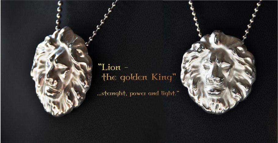 Lion Pendant Anhänger Codex Nobilis Löwe Silber Gold Unikat Siegelringe Wappen Gravuren Silver