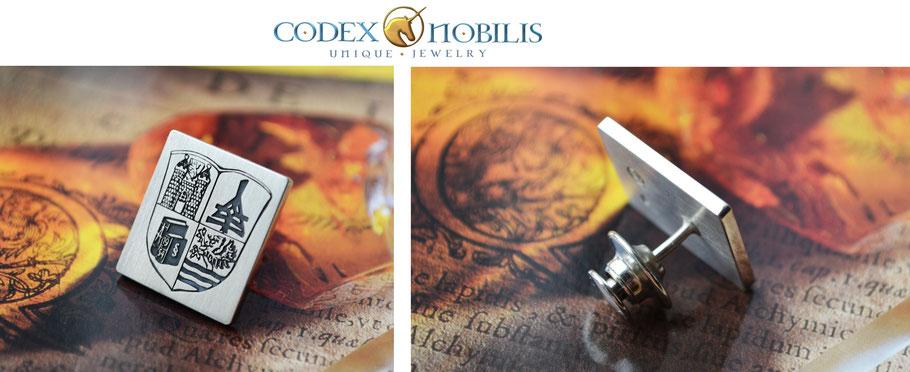 Corvin Idler Design Unikat Pin by Codex Nobilis Silver Gold Wappen Crest Engarving Gravur Wappen Silber Handarbeit Custom Made