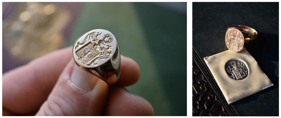 Signet Ring Codey Nobilis Gold Engraving Crest Unikat Design Crest Wappen Symbol