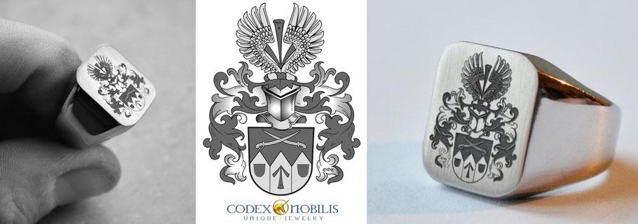Siegelring Gravur Silber Ring Gold Herren Bundeswehr Wappen Anfertigung Codex Nobilis