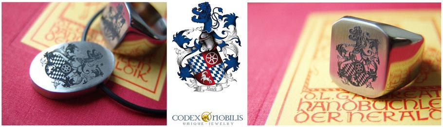 Codex Nobilis Ring Anhänger Pendat Steel Edelstahl Wappen Gravur Unikat Zsolt Mozes Design Gold Platin