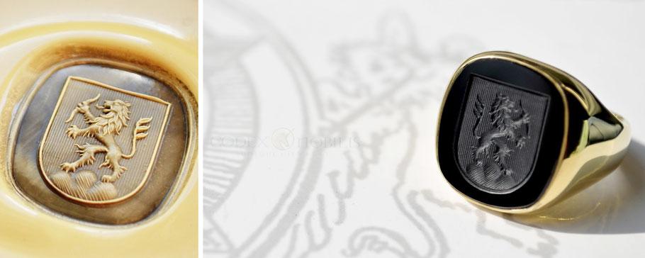 Codex Nobilis Siegelring Wappen Onyx Heraldik Gold Gravur Signet Ring Crest