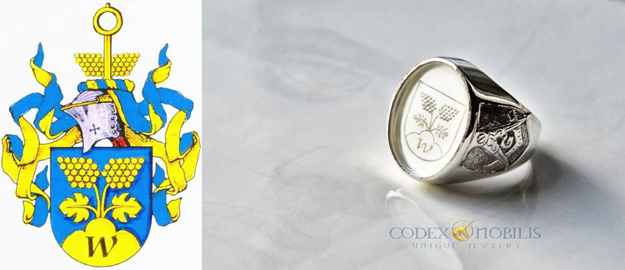 Wappenring Indivdual Custom Made Rock Crystal Crest Silber Silver Ring Wappen Siegel Gravur Codex Nobilis Unikat Anfertigung Bergkristall