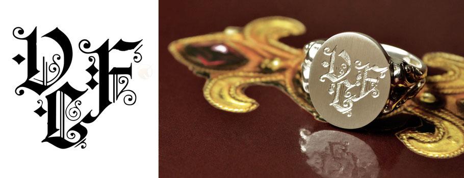 Wappenringe Siegelring Silber Silver Monogramm Anfertigung Design Unikat Crest Signet Codex Nobils Handmade