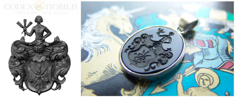 Wappen Unikat Silber Gravur Silver Codex Nobils Pendant Anhänger Zsolt Mozes Anfertigung Gold