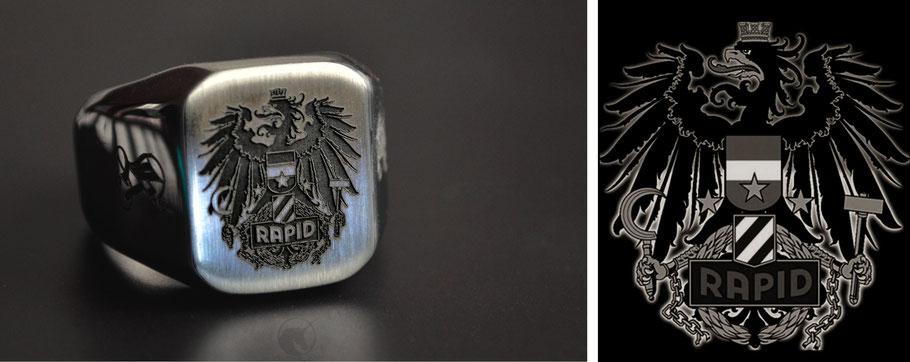 Codex Nobilis Rapid Wien Unikat Siegelring Gravur Anfertigung Gestaltung Wappen Silber Edelstahl