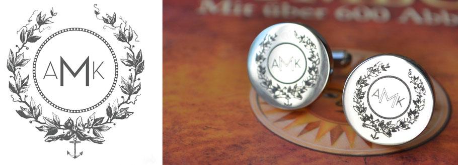 Codex Nobilis  Manschetten Knöpfe Cufflinks Rund Gold Silber 925 Silver Gravur Wappen Crest Siegel