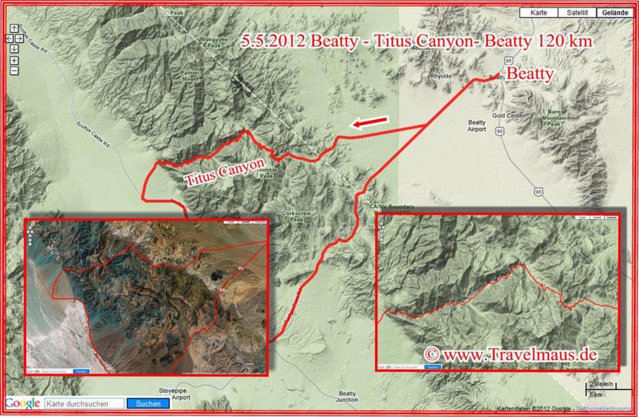 Beatty - Titus Canyon - Beatty 120 km