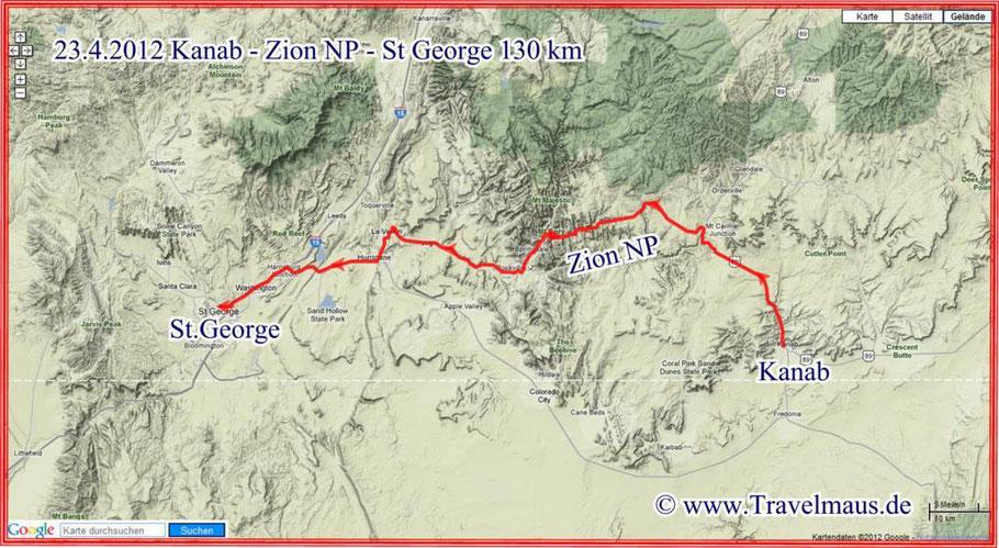 Kanab - Zion NP - St.George 130 km
