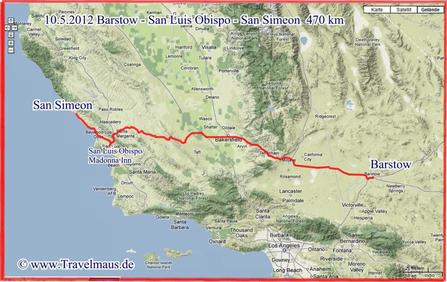 Barstow - San Luis Obispo - San Simeon 470 km